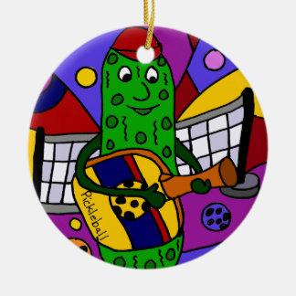 Funny Pickleball Abstract Art Original Round Ceramic Decoration