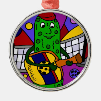 Funny Pickleball Abstract Art Original Silver-Colored Round Decoration