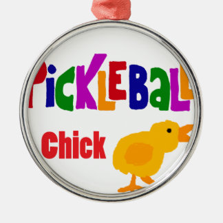 Funny Pickleball Chick Art Silver-Colored Round Decoration