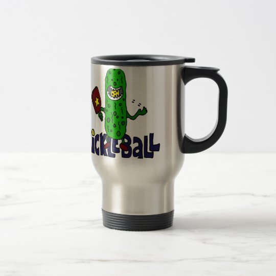 Funny Pickleball Monster Cartoon Travel Mug