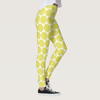 Funny Pickleball Yellow Ball and White Sports Leggings