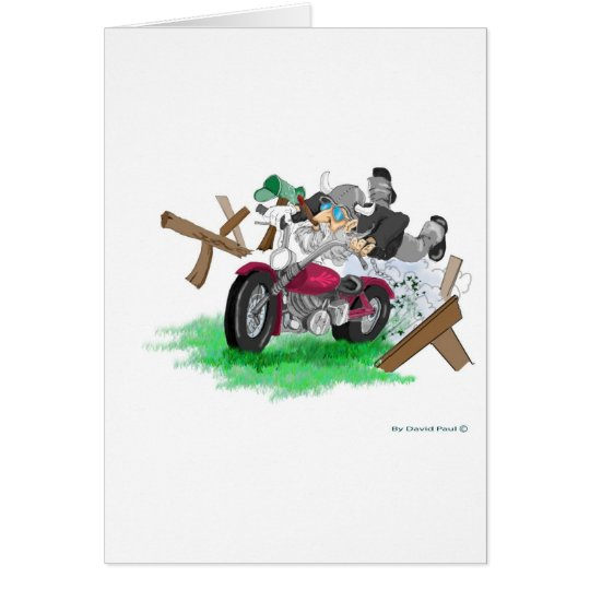 Funny picture of man on motorcycle crashing card