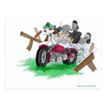 Funny picture of man on motorcycle crashing postcard