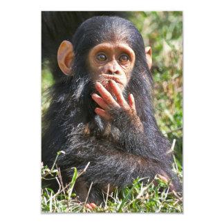funny picture of young chimpanzee 9 cm x 13 cm invitation card