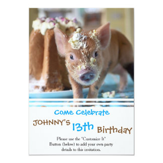 Funny pig and  the cake 13 cm x 18 cm invitation card
