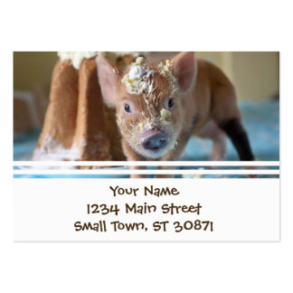 Funny pig and  the cake pack of chubby business cards