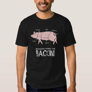 Funny Pig Bringing Home the Bacon Dark Design Tee Shirts