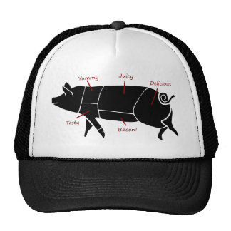 Funny Pig Butcher Chart Diagram Trucker Hat