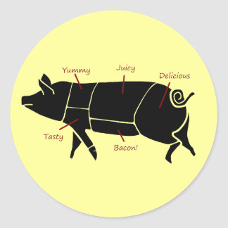 Funny Pig Butcher Chart Diagram Round Sticker