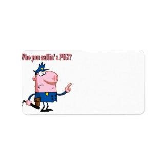 funny pig cartoon cop policeman address label