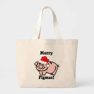 Funny pig Christmas Canvas Bags