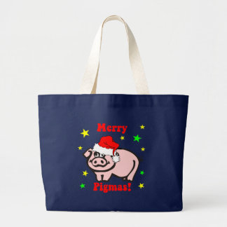 Funny pig Christmas Large Tote Bag