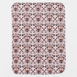 Funny Pig Damask Pattern Receiving Blanket