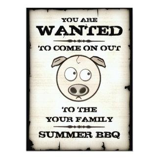 Funny Pig Family BBQ Invitations