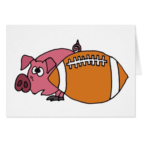 Funny Pig Hiding Behind Pigskin Card