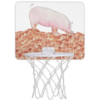Funny pig in mud novelty art basketball hoop