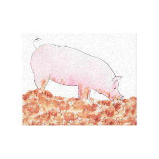 Funny pig in mud novelty art canvas stretched canvas print