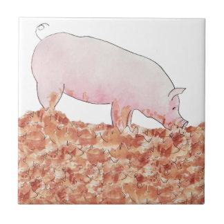 Funny pig in mud novelty art design ceramic tiles