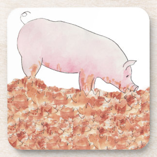 Funny pig in mud novelty art design coasters