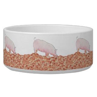 Funny pig in mud novelty art design dog bowl