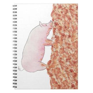 Funny pig in mud novelty art design notepad spiral notebooks