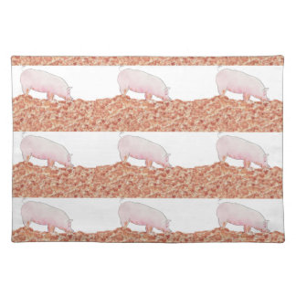Funny pig in mud novelty art design placemats