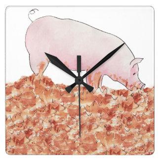 Funny pig in mud novelty art design wall clock