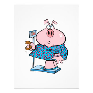 funny pig on a diet eating a donut on a scale 21.5 cm x 28 cm flyer