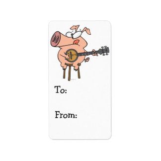 funny pig playing a banjo cartoon character address label