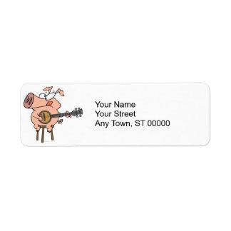 funny pig playing a banjo cartoon character return address label