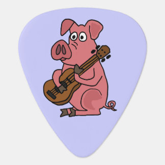 Funny Pig Playing Guitar Plectrum