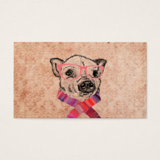 Funny Pig Sketch Pink Hipster Glasses on Damask