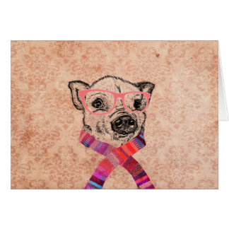 Funny Pig Sketch Pink Hipster Glasses on Damask Card