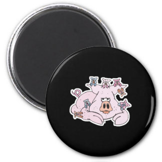 funny pig with baby piglets 6 cm round magnet