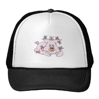 funny pig with baby piglets hats