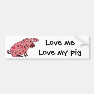 Funny Pig with Hearts Design Bumper Sticker