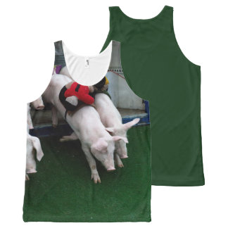 Funny pigs race All-Over print tank top