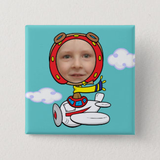 Funny Pilot Photo Face Template 15 Cm Square Badge
