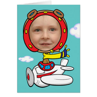 Funny Pilot Photo Face Template Greeting Card