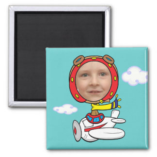 Funny Pilot Photo Face Template Magnet