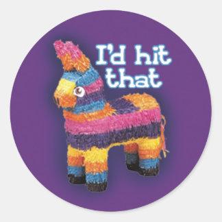 Funny Pinata I'd Hit That Purple Classic Round Sticker