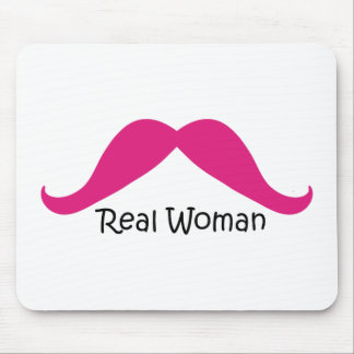 Funny Pink and Black Real Women Mustache Mouse Pad