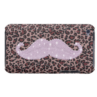 Funny Pink Bling Mustache And Animal Print Pattern Barely There iPod Cases