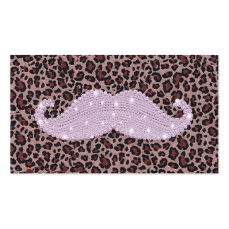 Funny Pink Bling Mustache And Animal Print Pattern Business Card Templates