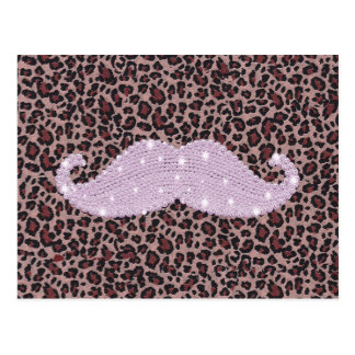 Funny Pink Bling Mustache And Animal Print Pattern Postcard