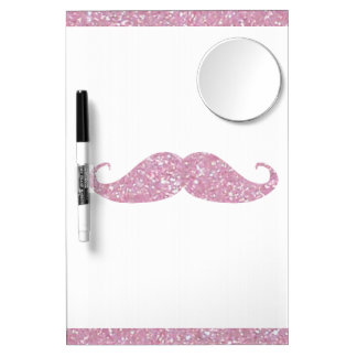 Funny Pink Bling Mustache Dry Erase Board With Mirror