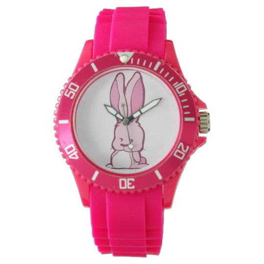 Funny pink bunny cartoon character illustration wristwatches