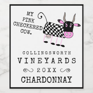 Funny Pink Checkered Cow Homemade Wine Label