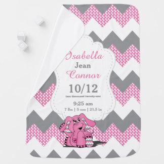 Funny Pink Chevron Elephant Baby Blanket