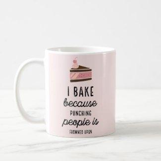 Funny Pink Classic Mug I Bake Because Punching